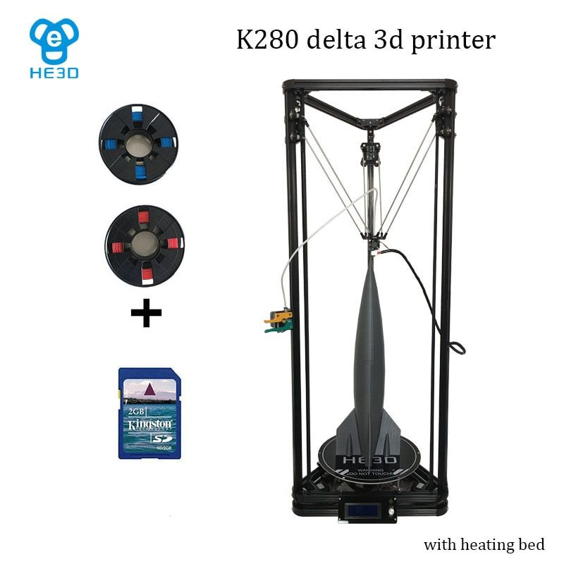 2017 upgrade He3D large printing size reprap K280 delta 3d printer kit single metal Extruder and heat bed support multi material