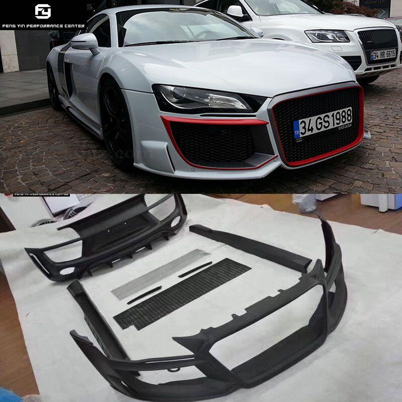 R8 FRP Auto körper kit Unlackiert stoßstange vorne stoßstange hinten seite röcke front grills für Audi R8 Regula stil 08 -15