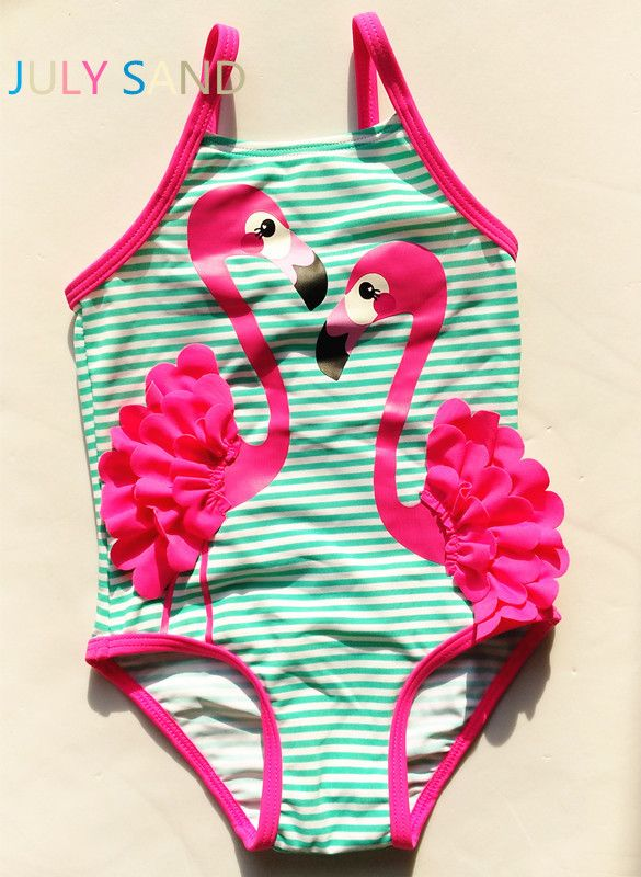 July sand 3M-10Y one piece Baby Girls Swimming suit with green stripe and purple cute ostrich print for kids swimwear