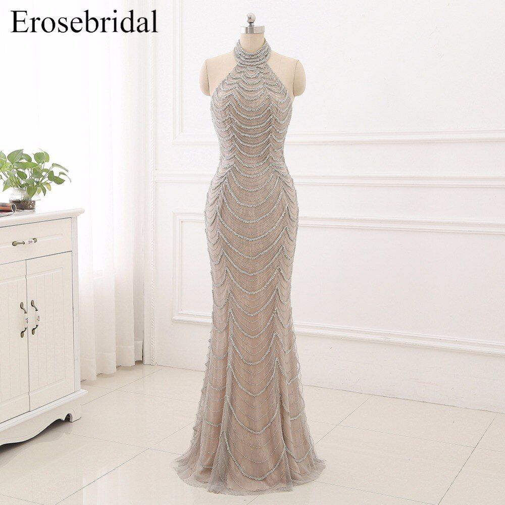 2018 Mermaid Evening Dresses Long Erosebridal Sliver Beading Off The Shoulder Prom Party Gowns Open Back Robe De Soire ZCC03