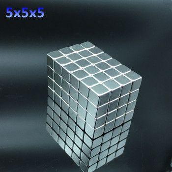 50 pcs Néodyme aimant 5x5x5mm Rare Earth petit Forte bloc permanent 5*5*5mm réfrigérateur Électro-Aimant NdFeB nickel magnétique carré