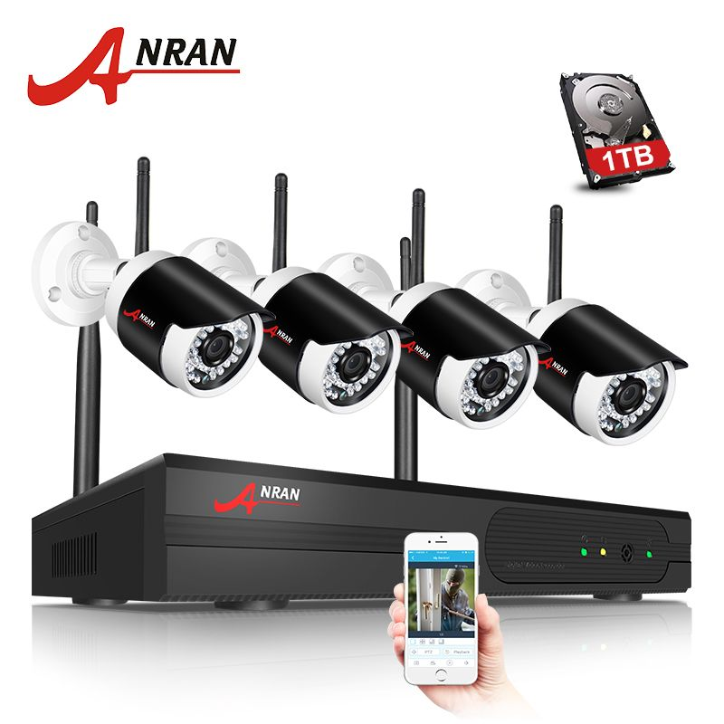ANRAN P2P Plug Play 1080P 4CH HD WIFI NVR Outdoor Network IP Camera Surveillance CCTV Security Wireless System Hard Disk