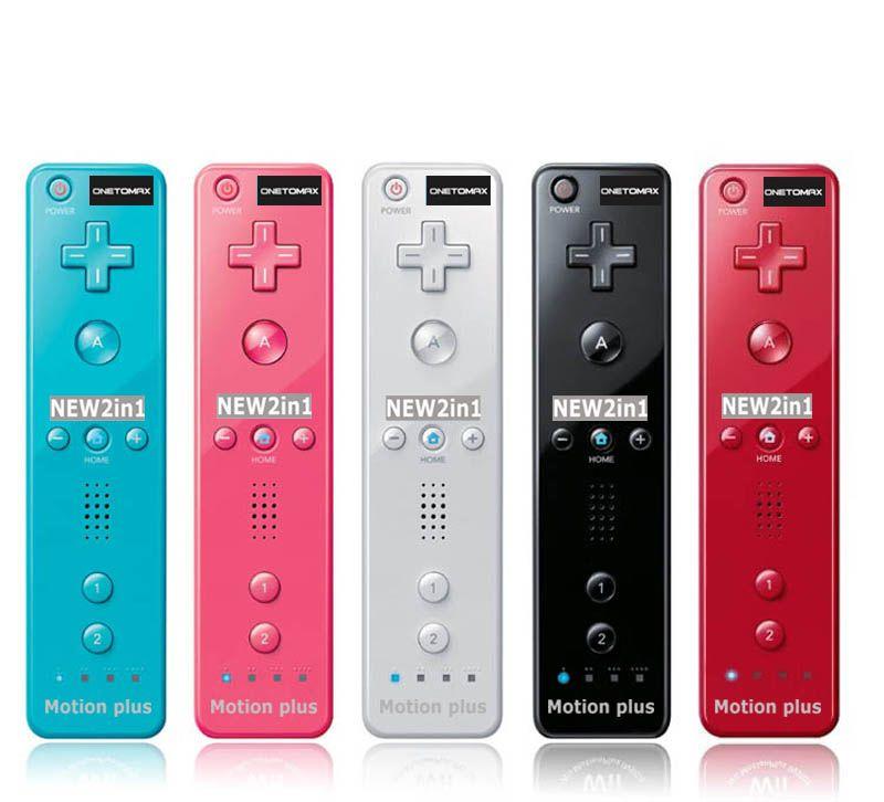 Pour Nintendo 2 en 1 pour Wiimote intégré dans Motion Plus télécommande intérieure pour Wii Remote Motionplus avec coque en silicone