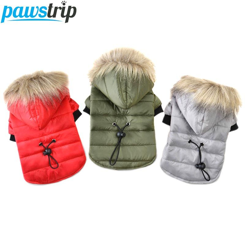 Pawstrip 5 Size Pet Dog Coat Winter Warm Small Dog Clothes For Chihuahua Soft Fur Hood Puppy Jacket Clothing
