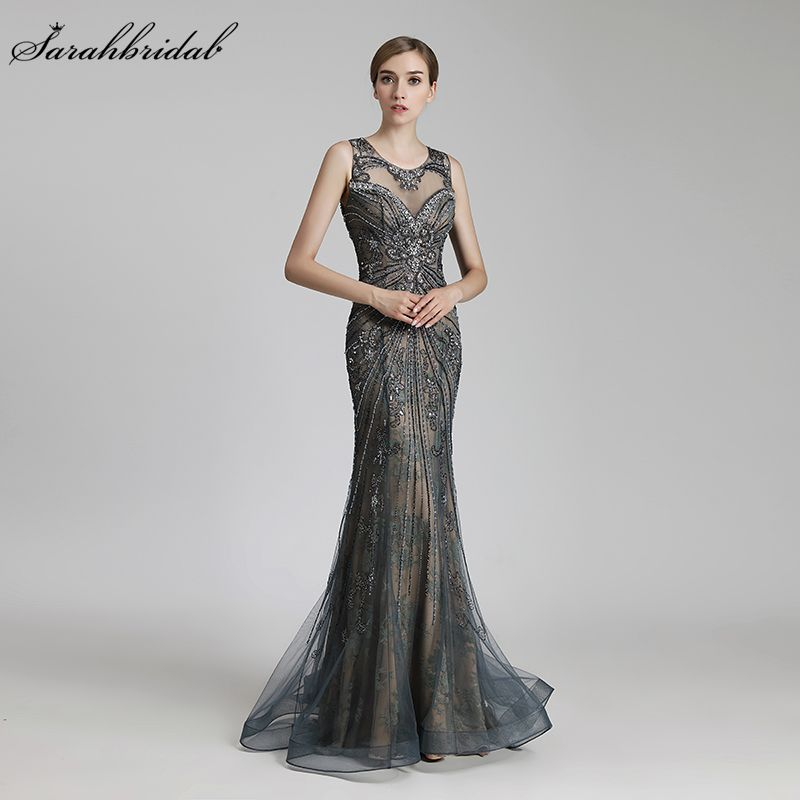 Robe De Soiree 2018 New Arrival Sexy Mermaid Formal Evening Dress Floor Length Crystal Beaded Tulle Vestido De Festa LSX429