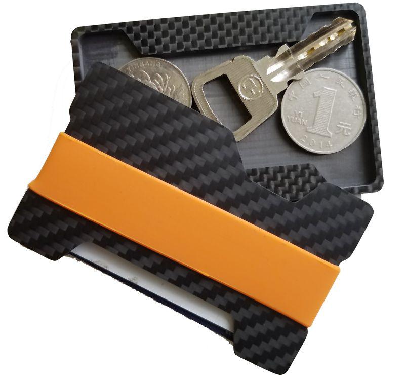 Углерода Волокно кошелек для кредитных карт бумажник Для мужчин карман кошелек с резиновой деньги band и полости