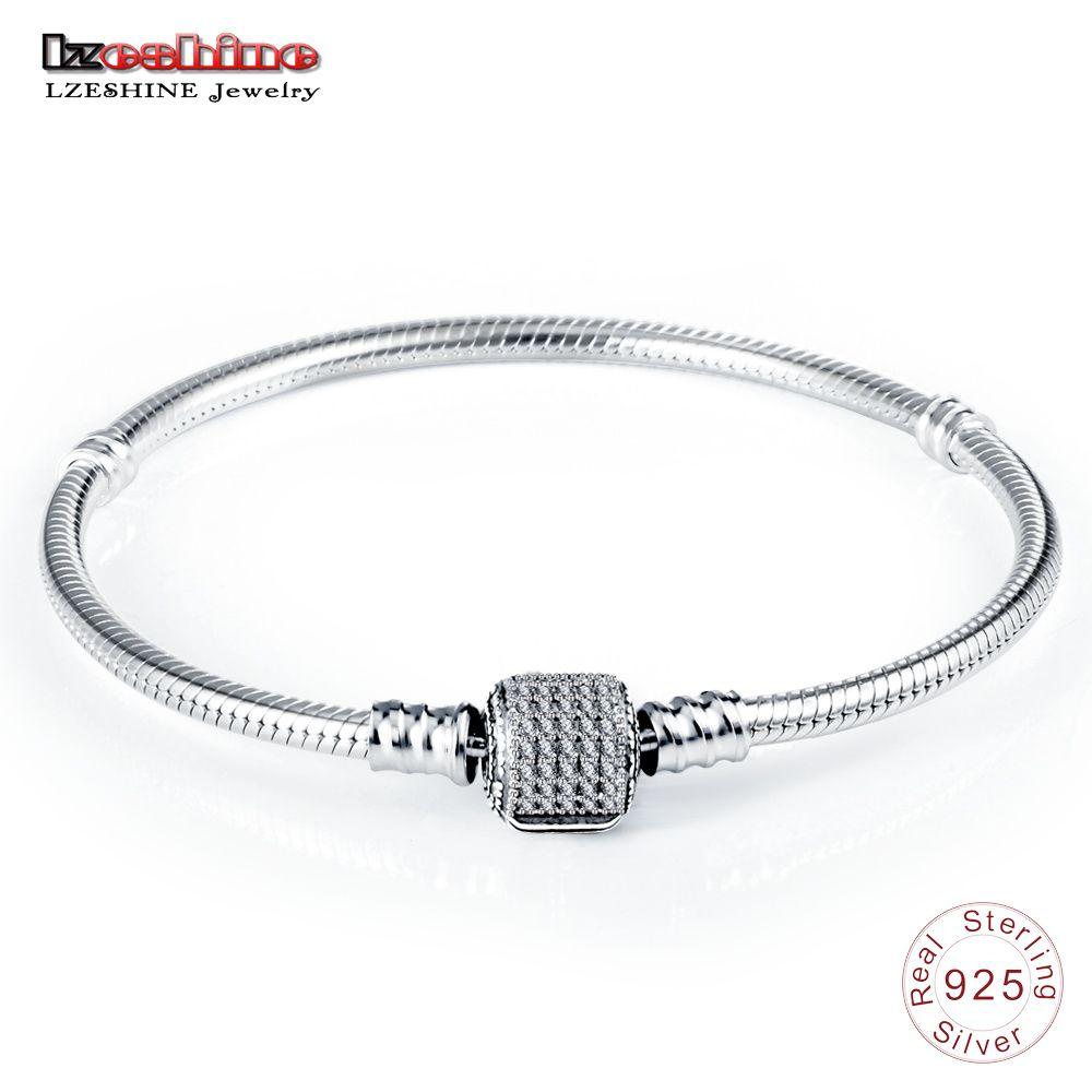 LZESHINE Authentique 100% 925 Sterling Argent Chaîne De Base avec CZ Serpent Fermoir fit Charm Bracelets & Bangles Beaux Bijoux 0013