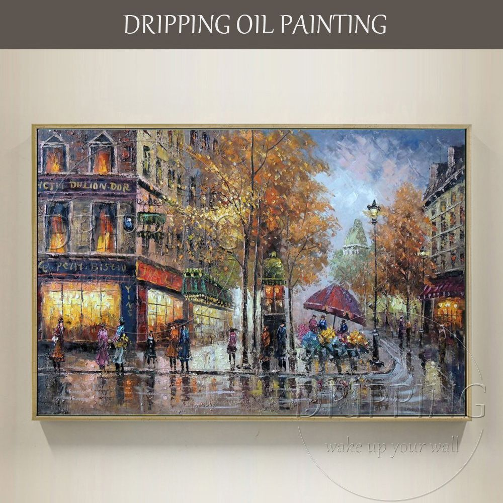 Large Canvas Wall Decor Hand-painted High Quality Modern Paris Street Scene Oil Painting Handmade Wall Art Street Oil Painting