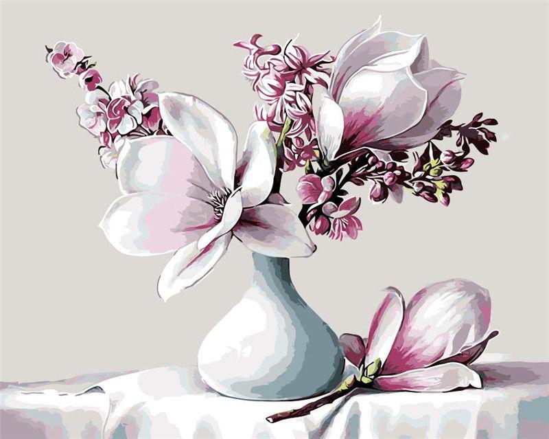 Fleurs de lys en vase blanc bleu peinture à l'huile image par numéros dessin coloriage par numéros bricolage dessin décoration de salon