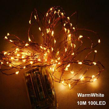 SPLEVISI 10 M 33ft 100 led 3AA batterie alimenté led fil de cuivre jeu de lumières pour le festival de noël de noce décoration