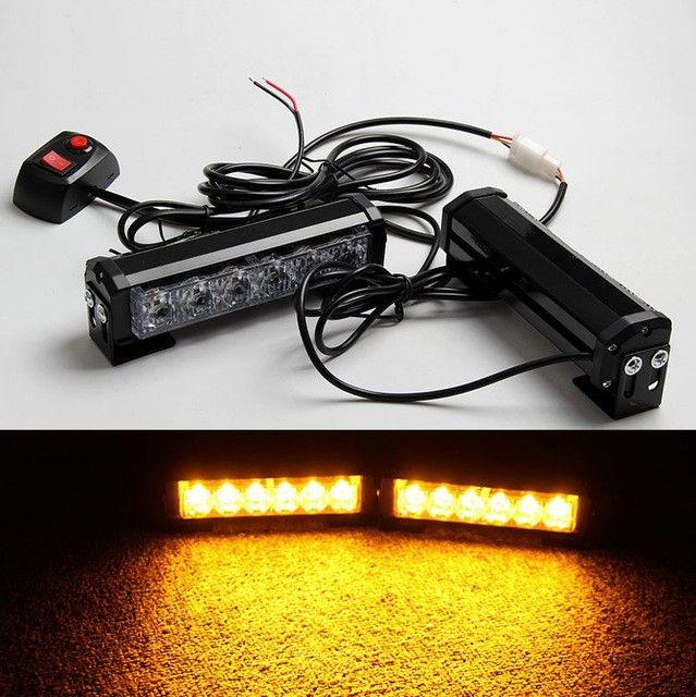 09011 2x6LED Car  Strobe Flash Light Modes Auto Warning Light 12W High Power Caution Lamp Free Shipping