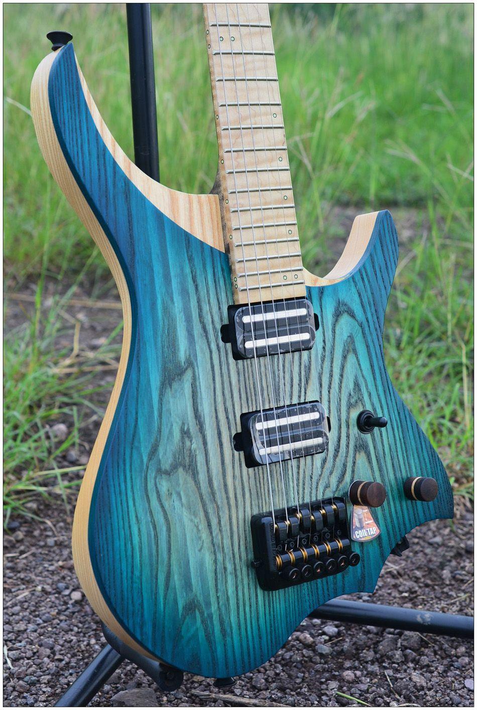 NK Headless Gitarre steinberger stil Modell Blau burst Farbe Weiß Flamme ahorn Hals auf lager Gitarre freies verschiffen
