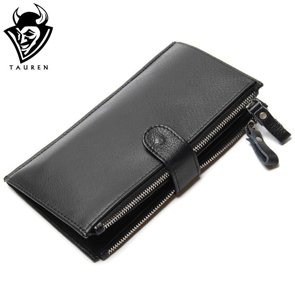 Man Wallet 100% Genuine Leather <font><b>Black</b></font> Color Large Capacity Men's Vintage Retro Wallets