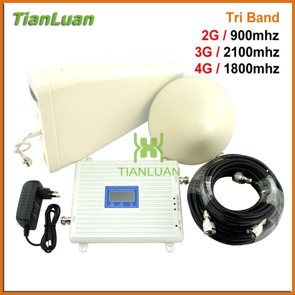 Vollen Satz 2G GSM 900 mhz DCS 4G LTE 1800 mhz 3G UMTS W-CDMA 2100 mhz Handy Signal Booster Repeater mit Decke/Log antenne