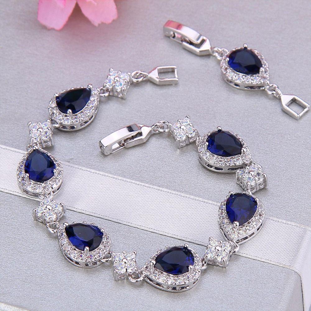 Bella Fashion Elegant Teardrop Bridal Bracelet Blue Cubic Zircon Bracelet For Women Wedding Accessories Party Jewelry Gift