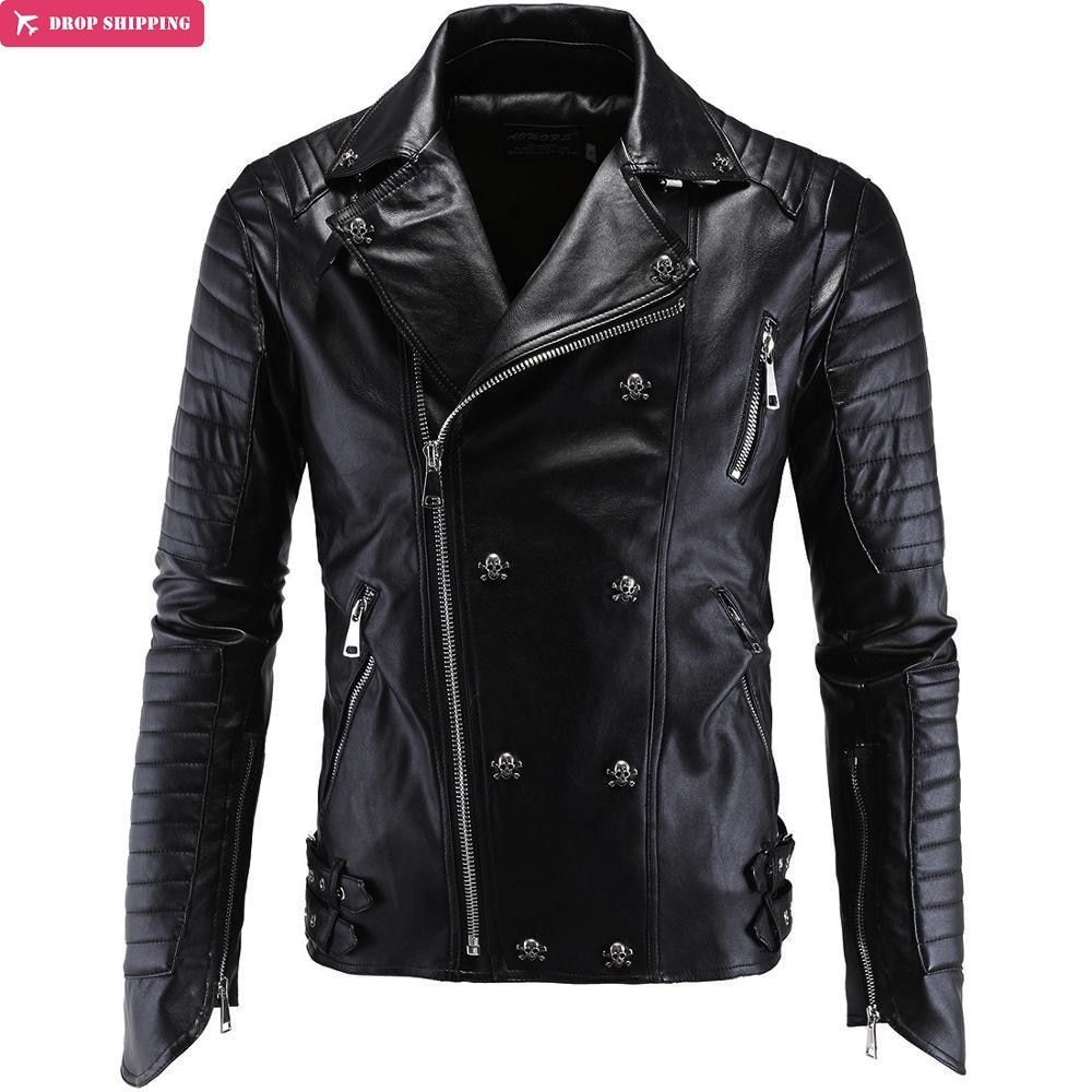 Brand Clothing Cool Fashion Party Essential Leather Motorcycle Jacket High Quality Leather Coat Plus Size M-5XL