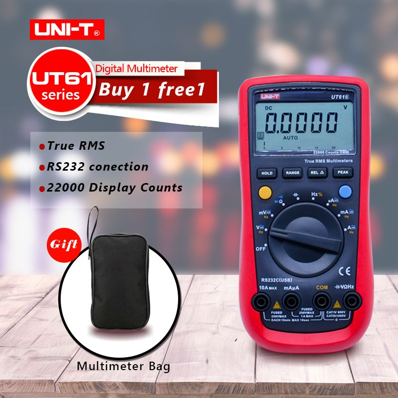 UNI-T UT61A UT61B UT61C UT61D UT61E Digital Multimeter Ture Rms AC DC Meter Software CD & Data Hold Multitester+Gift