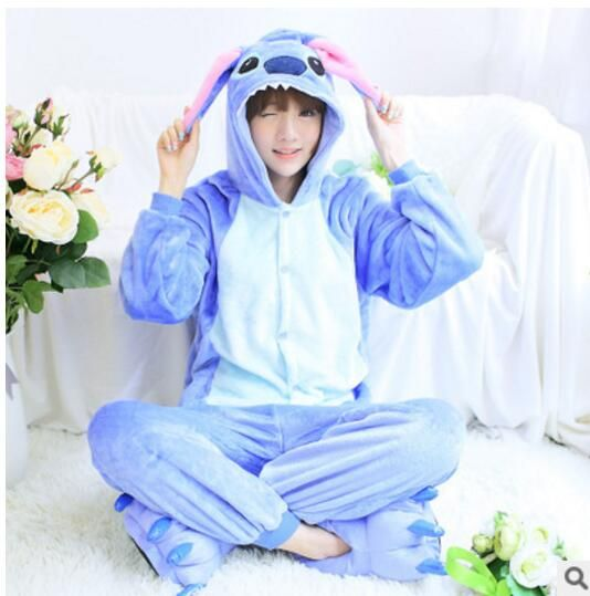 Lilo y stitch onesie Unisex onesies para amantes polar caliente pijamas para las mujeres conjunto de pijama caliente animal pijama de una pieza femme