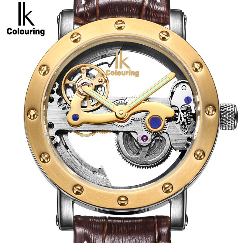 IK Top Brand Luxury Self-Wind Automatic Mechanical Watches Men Rose Gold Case Genuine Leather Skeleton Watch relogios masculino