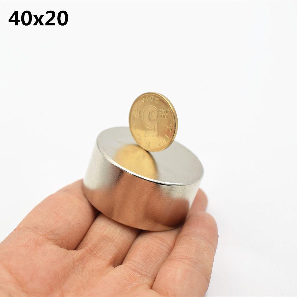 1 pc N52 néodyme aimant 40x20mm super fort rond terre Rare puissant NdFeB gallium métal haut-parleur magnétique 40*20mm disque N35