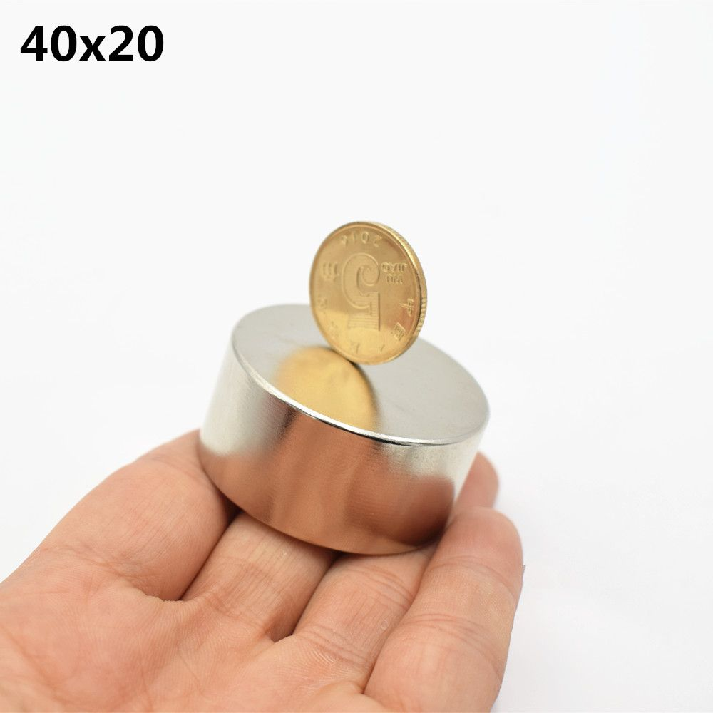 1pc N52 Neodymium magnet 40x20mm super strong round Rare earth powerful NdFeB gallium metal speaker magnetic 40*20mm disc N35
