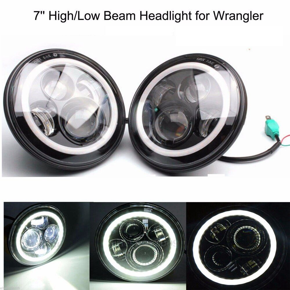 2x 7inch 40W white Halo Ring DRL LED Headlight H4 H13 HIGH LOW BEAM For JEEP JK Wrangler