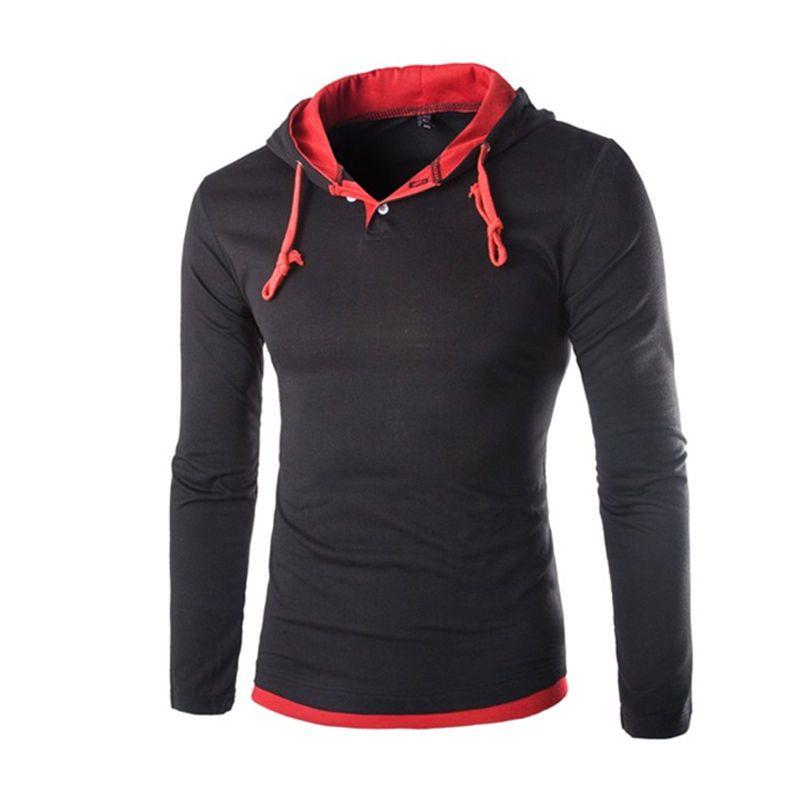 2018 Automne À Manches Longues À Capuche t-shirt Hommes Slim Fit À Capuchon T-shirts Pull Hoodies Tops Drop Shipping
