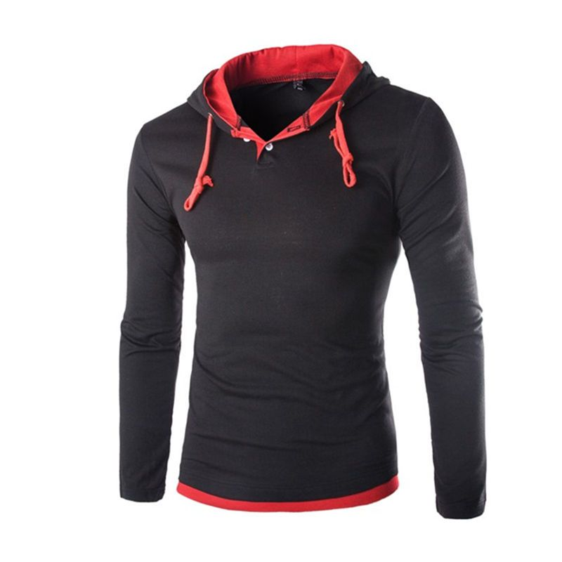 2018 Autumn Long Sleeve Hooded T shirt Men Slim Fit Hooded T-shirts Pullover Hoodies Tops Drop Shipping