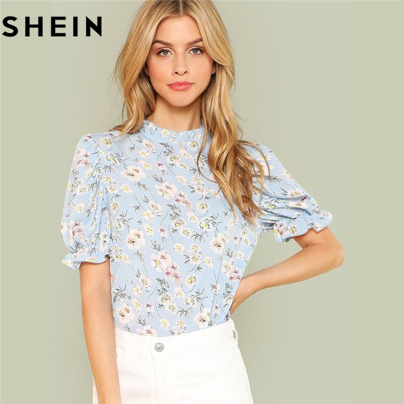 SHEIN Office Lady Tops Ruffle Floral <font><b>Blue</b></font> Blouses 2018 New Women Summer Casual Short Puff Sleeve Frill Trim Calico Print Blouse