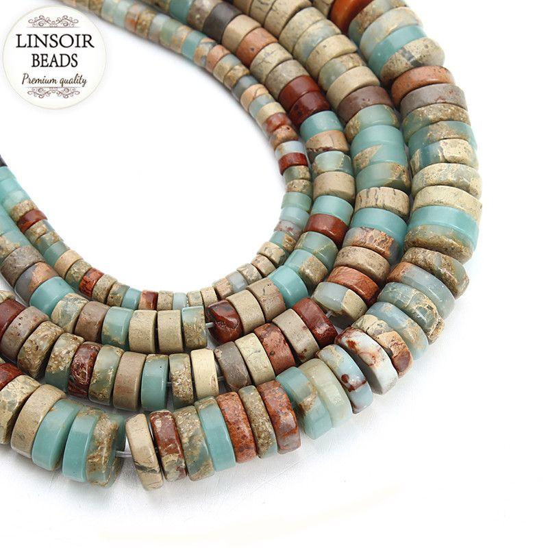 1 brin/lot Dia 4/6/8/10mm Oblat Naturel Perles En Pierre Lâche Spacer Perles montage Diy Collier Bracelet Résultats Fabrication de Bijoux