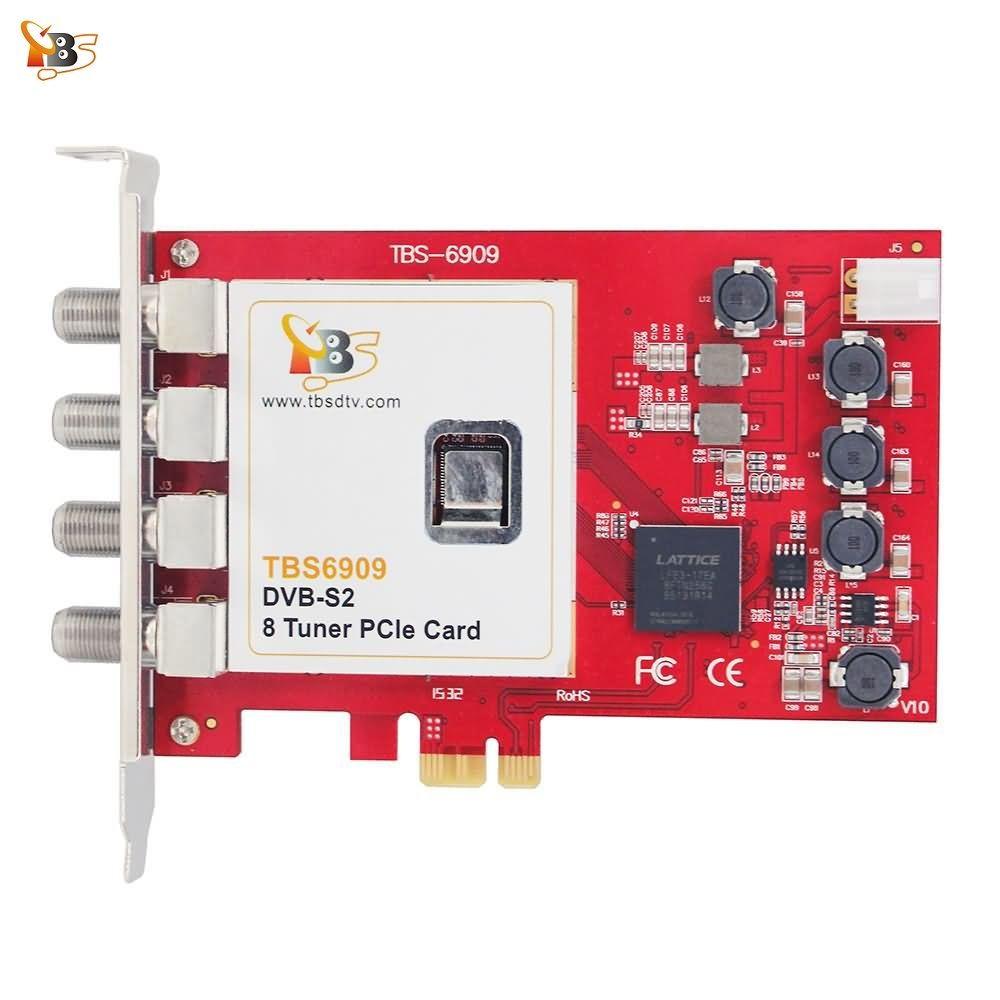 Carte tuner Octa TBS6909 DVB-S/S2 8 carte Tuner TV PCIe pour regarder et enregistrer les chaînes/programmes de Radio par Satellite sur PC