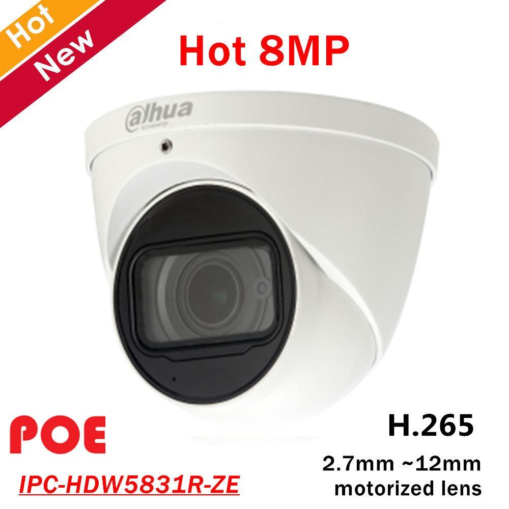 8mp Dahua POE IP Kamera IPC-HDW5831R-ZE 2,7mm ~ 12mm motorisierte objektiv Eingebauten Mic Max. IR LEDs Länge 50m H.265 Sicherheit kamera