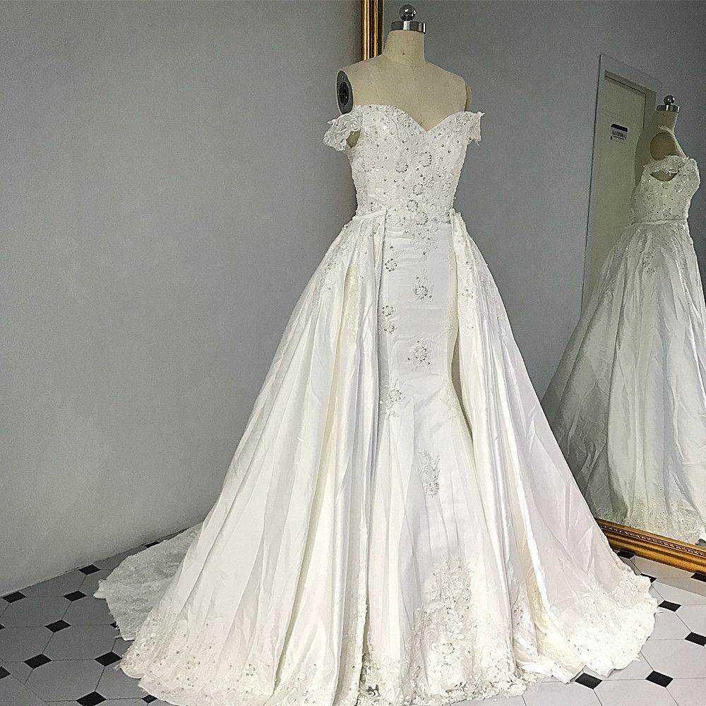 RSW1426 Sleeveless Vintage Zwei Stück Weg Von der Schulter Abnehmbare Zug Hochzeit Kleid Satin