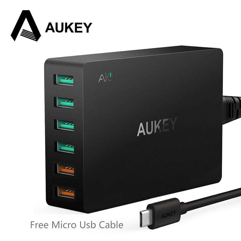 AUKEY Quick Charge QC 3,0 6 Port Reise Wand Schnellladegerät Universal Schnelle Usb-ladegerät Für Samsung Galaxy S8 Für Xiaomi Redmi 5