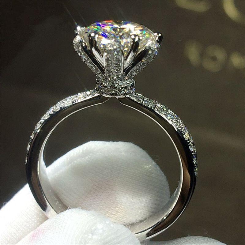 Choucong Fleur Bijoux Femmes 925 sterling Silver ring 3ct Diamonique 5A Zircon Cz Engagement Wedding Band Anneaux Pour Les Femmes Cadeau