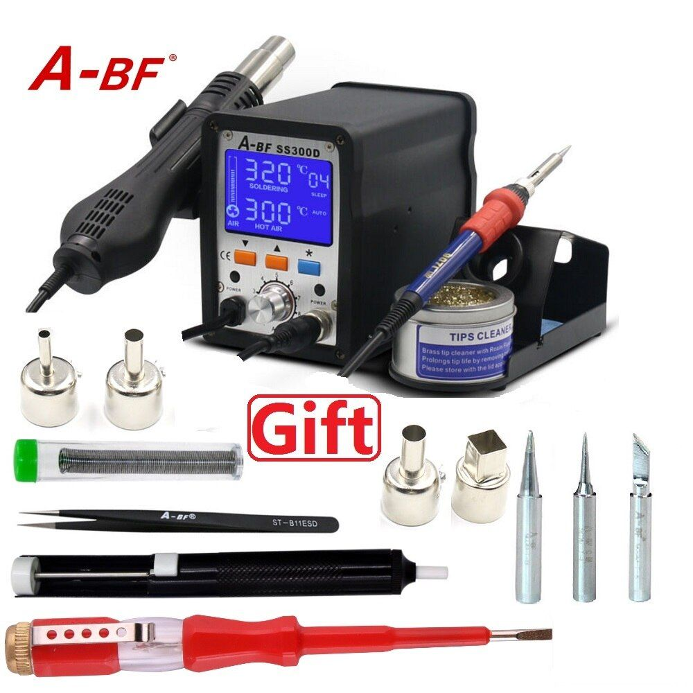 A-BF 2 in 1 Rework Station LCD Digital Display New Design Soldering Station Hot Air Gun with tip cleaner wires 4 nozzles SS300D