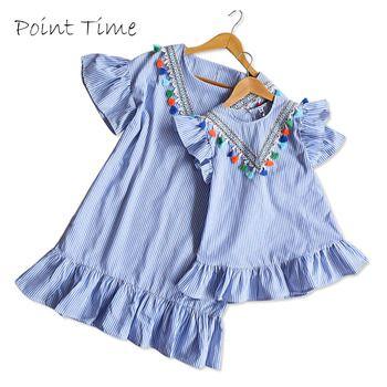 Mère d'été Fille Robe Famille Correspondant Tenue Mère Fille Robes De Mode Bleu O-cou Glands Robe Mère et Enfants Vêtements