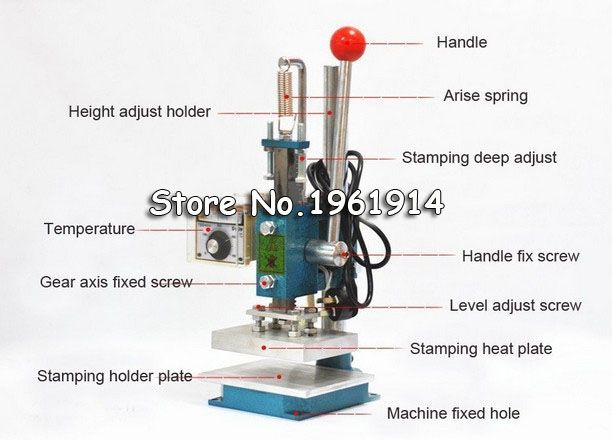 Hot foil stamping machine leather deboss machine 2 in 1 (13x10cm) 220V DIY Embossing Hot Stamping Machine