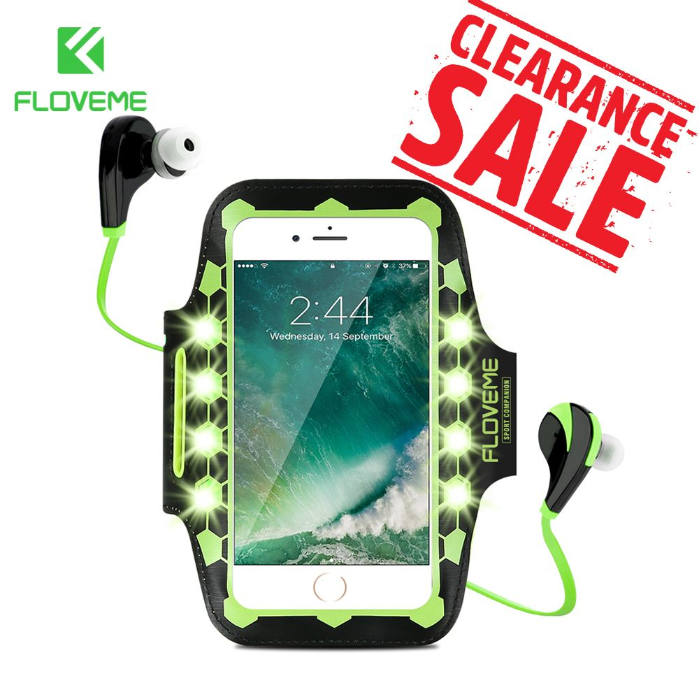 FLOVEME LED Armband For Phone Running Sport Armband 4.7-5.5 Fitness Mobile Phone Bag Case For iPhone 8 7 6 6S Plus Arm Band