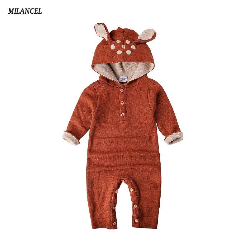 Wholesale 2018 Knitted baby boys girls clothes set long-sleeve Reindeer Newborn baby Romper jumpsuit roupas de bebe
