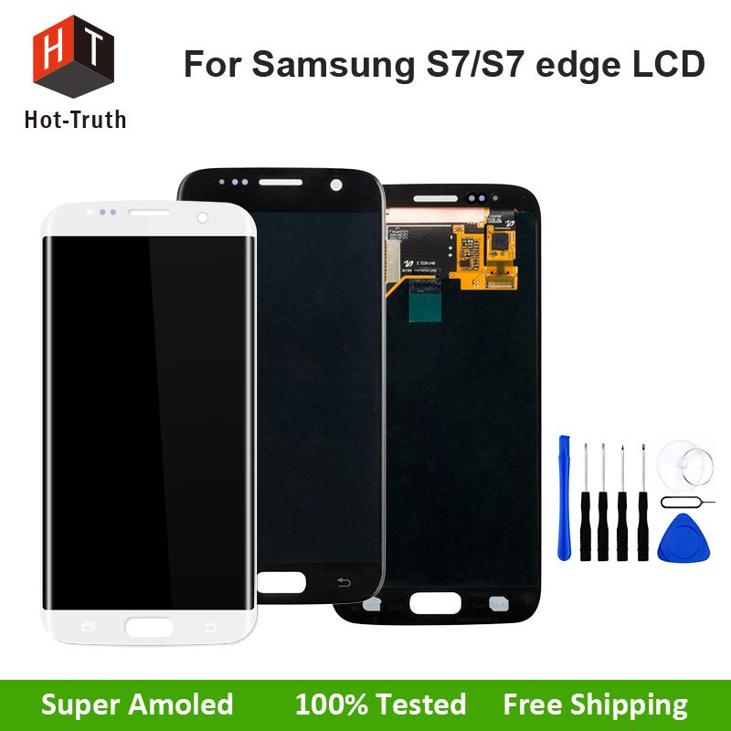 Hot-Truth 100% Tested Super AMOLED Touch Screen For Samsung Galaxy S7 S7 edge G930 G935 LCD Display Digitizer Assembly Parts LCD