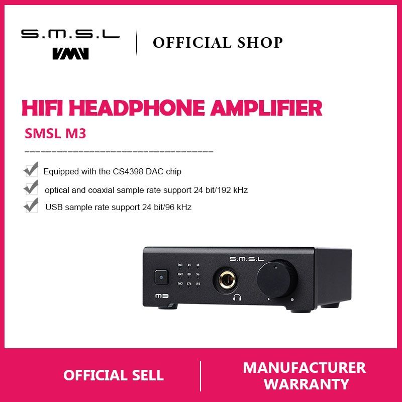 SMSL M3 USB DAC AMP Multi-function Optical Coaxial Headphone Amplifier Portable USB Powered Audio Decoder Portable DAC Converter