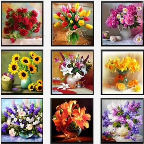 5D DIY diamond Painting flowers Cross Stitch diamond embroidery mosaic diamonds wall stickers home decor vase