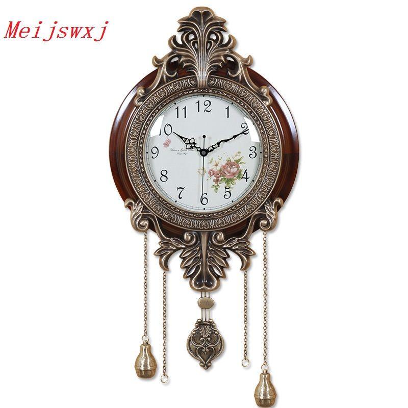 Meijswxj Large Wall Clock Saat Reloj Relogio de parede European Style Clock Duvar Saati Horloge Murale Wood Mute Pendulum Clocks