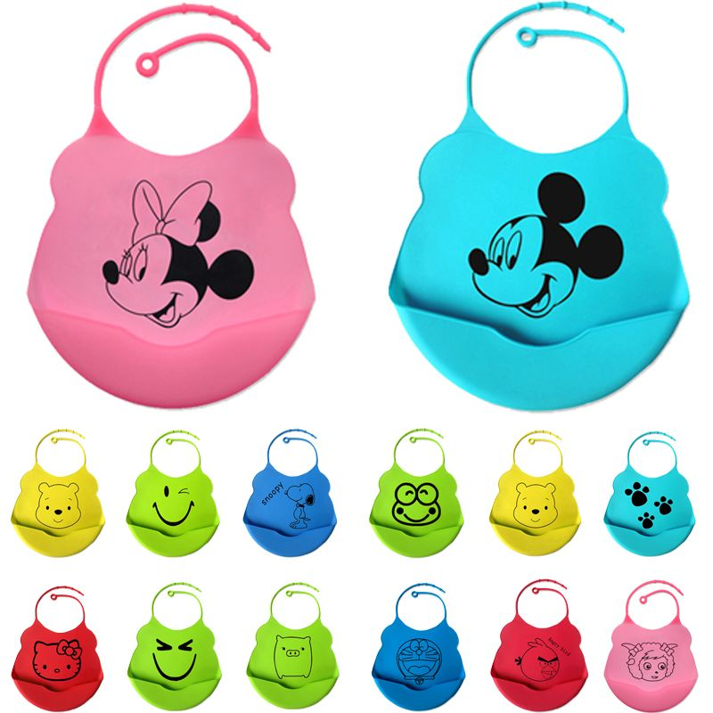 18colors new design Baby bibs waterproof silicone feeding baby saliva towel newborn cartoon waterproof aprons Baby Bibs