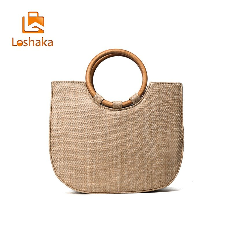 LOSHAKA Fashion 2017 Summer Circle Wooden Handle Knitted Handbag Straw Bags for Women Tote bag Crossbody bag Beach bag