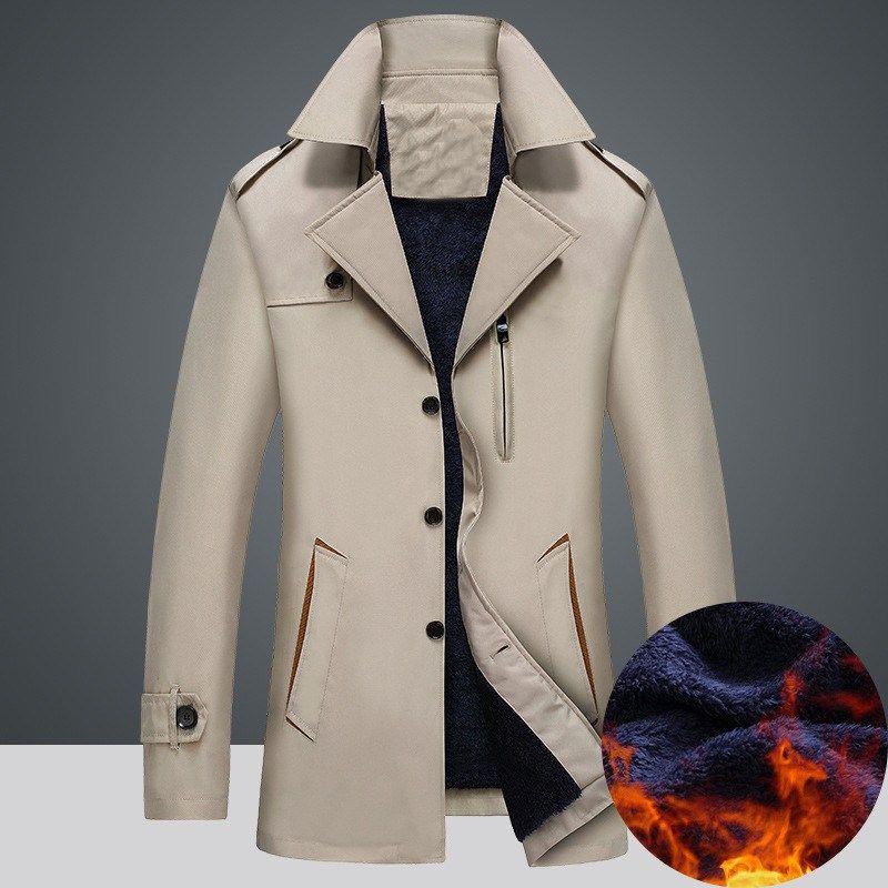 Men Warm Fleece Padded Jacket Winter Business Smart England Style Overcoat Buttons Up Lapel Neck Windbreaker Oversized Jackets