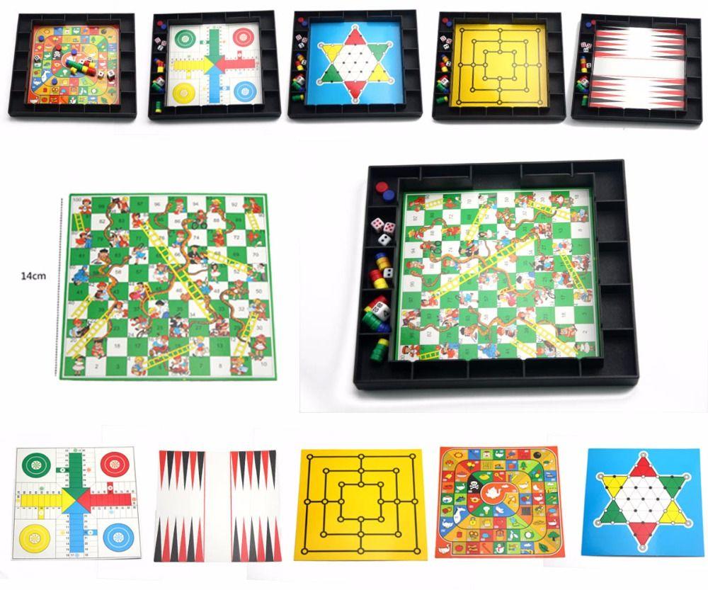U3 8 dans 1 Jeu de Plateau Magnétique Pliant Serpent Échelles Jeu/Dames/Échecs/Backgammon Jeu Drôle Éducatifs jouets pour Enfants
