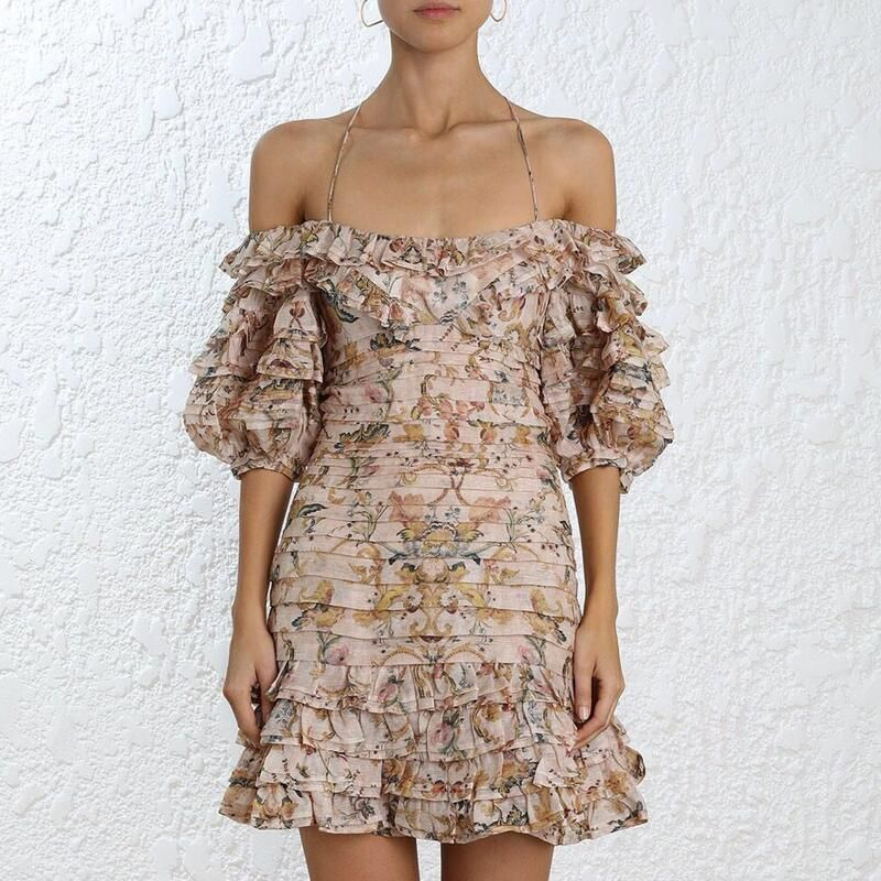 Women Painted Heart Folds Dresses Off Shoulder Slik Linen Floral Print Bohemian Summer Mini Bodycon Dress