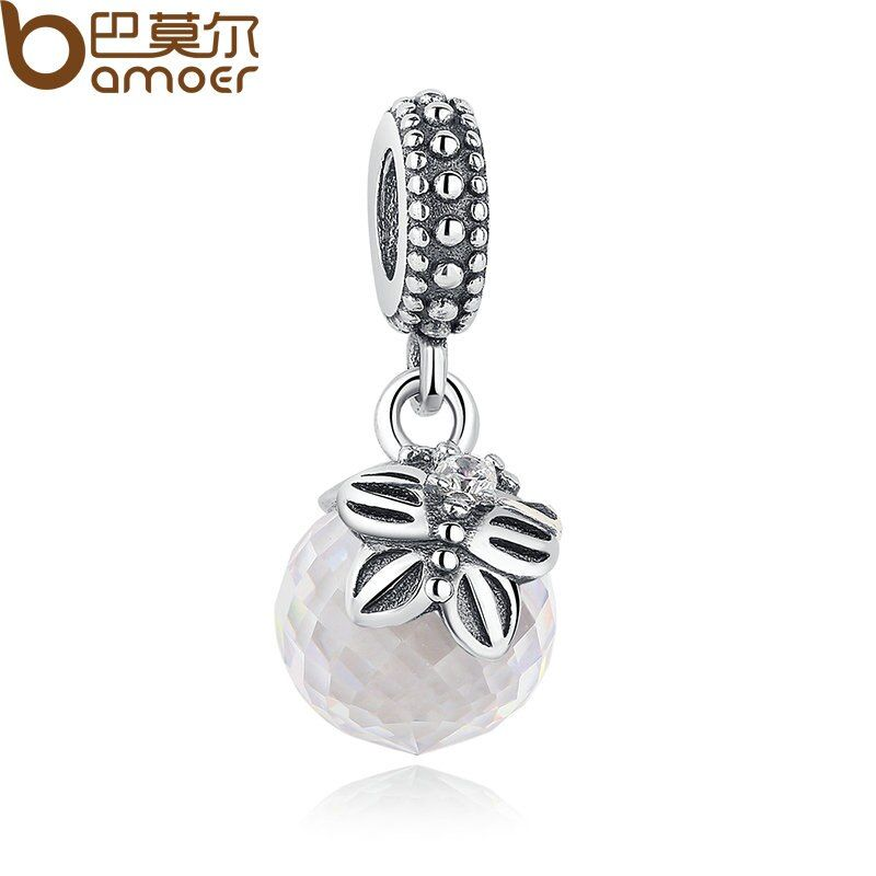 BAMOER 925 Sterling Silver Morning White Butterfly Pendant Charms Pendant for Women Fine Jewelry Accessories PAS259